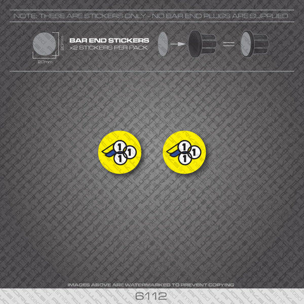 3Rensho Bar End Plug Decals with Yellow Background