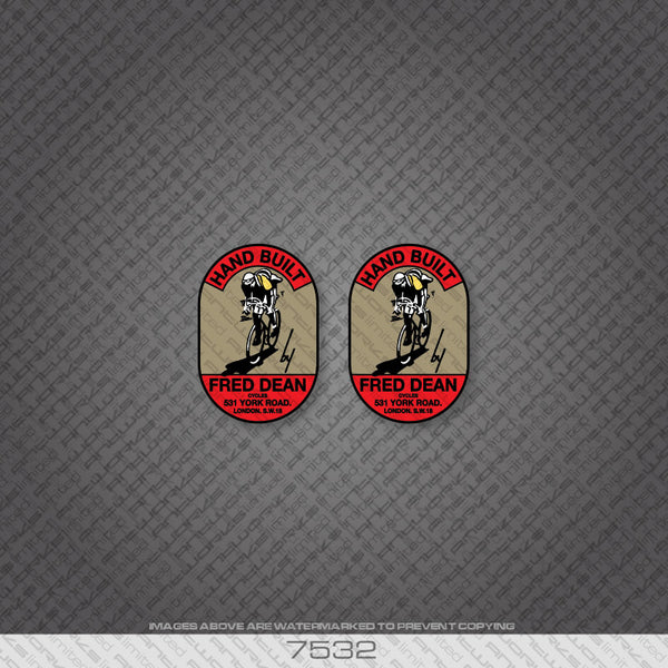 Fred Dean Head Badge x 2 Bicycle Decals
