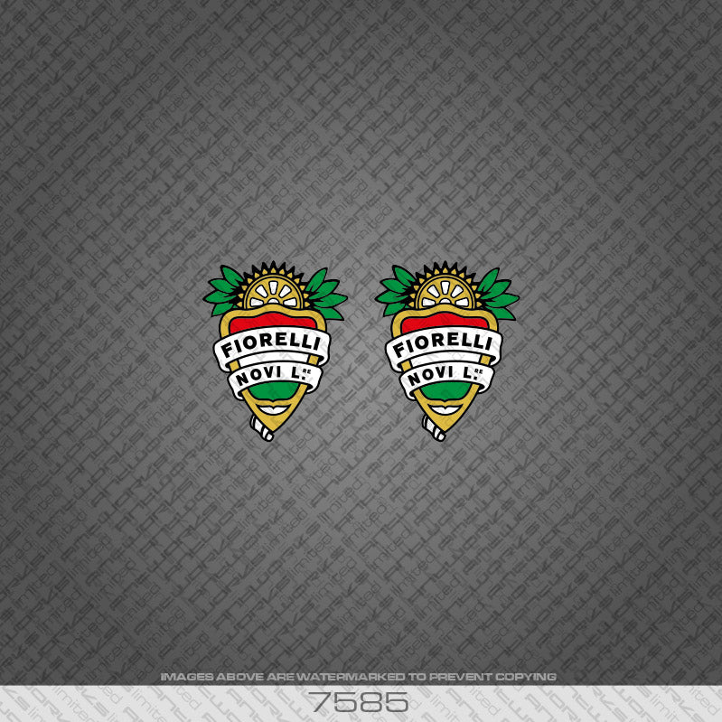 Fiorelli Head Badge Bicycle Decals x 2 - Italian Tri-Colour