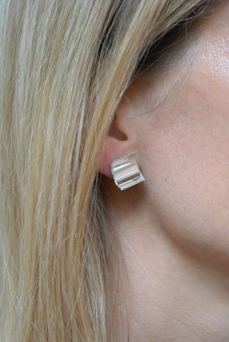 Kristen Elspeth Armor Moon Stud minimal elegant silver earring at Reference Point