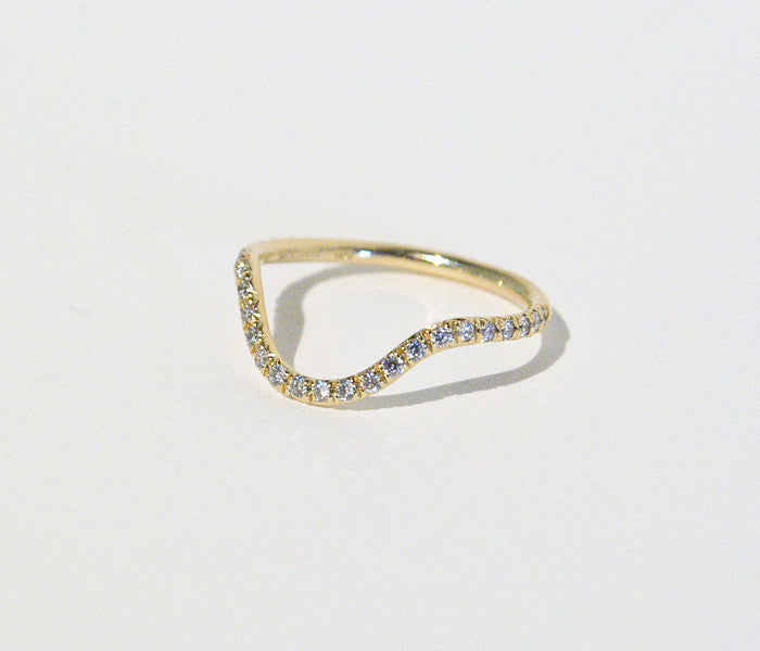 MOCIUN Curved Band with Micro Pavé White Diamonds minimal unique engagement wedding ring at Reference Point