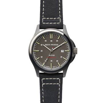 Jack Mason | Field Automatic 42mm | Grey Dial | Black Leather Strap