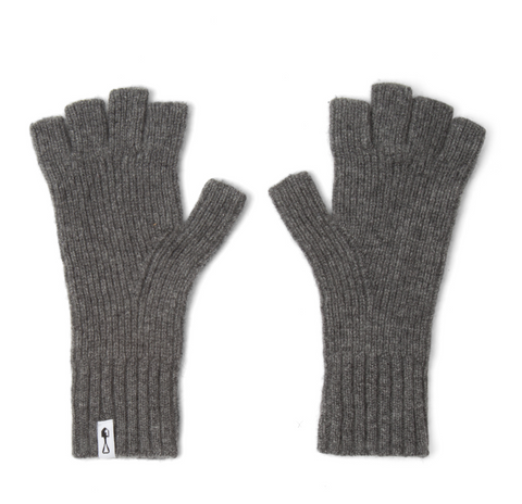 American Trench | Fingerless Cashmere Gloves | Grey