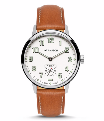 Jack Mason | Overland Field Watch 42MM | White Dial | Tan Leather Strap