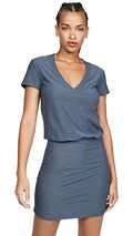 James Perse | Short Sleeve V-Neck Blouson Dress