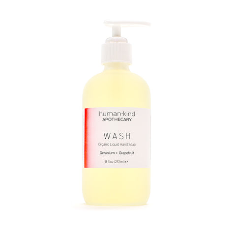 WASH: Organic Liquid Hand Soap - Geranium + Grapefruit