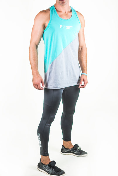 SLICE Tank Top - Teal/Gray