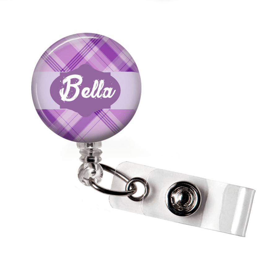 Retractable Badge Holder - Plaid PL0010 - Clowdus Creations