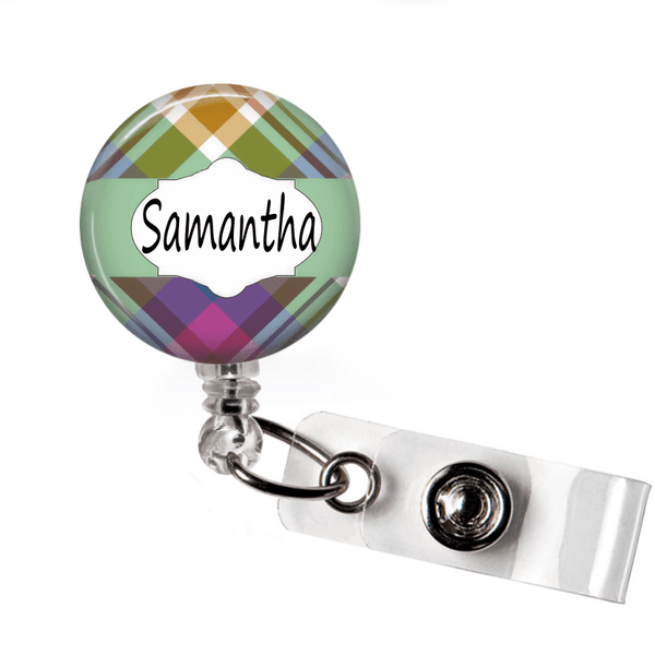 Retractable Badge Holder - Plaid PL0011 - Clowdus Creations