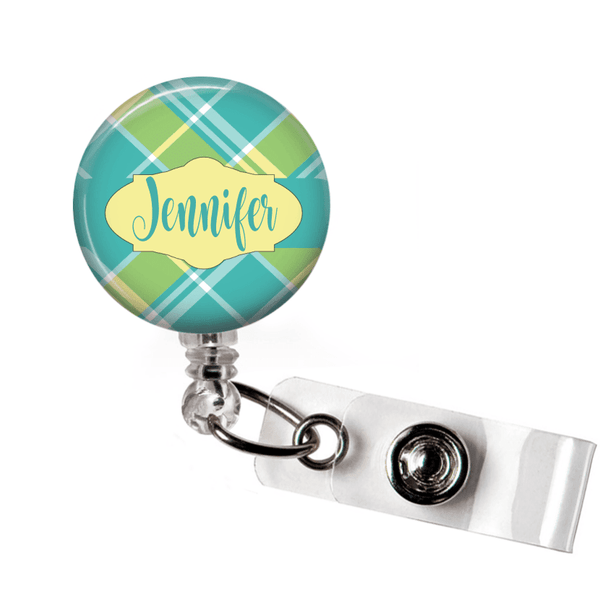 Retractable Badge Holder - Plaid PL0012 - Clowdus Creations