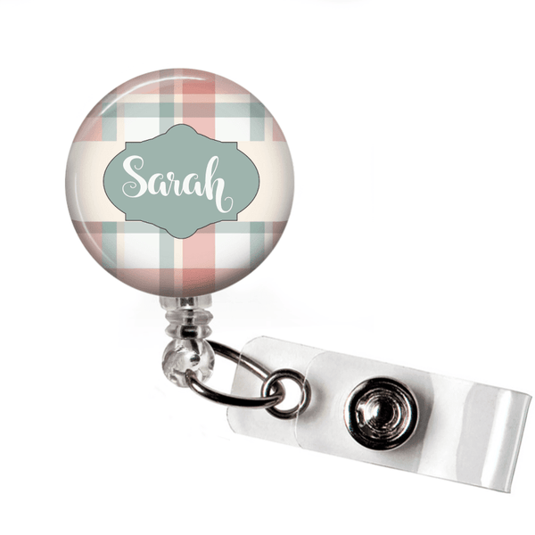 Retractable Badge Holder - Plaid PL001 - Clowdus Creations