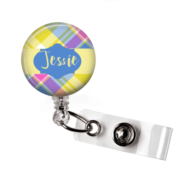 Retractable Badge Holder - Plaid PL002 - Clowdus Creations