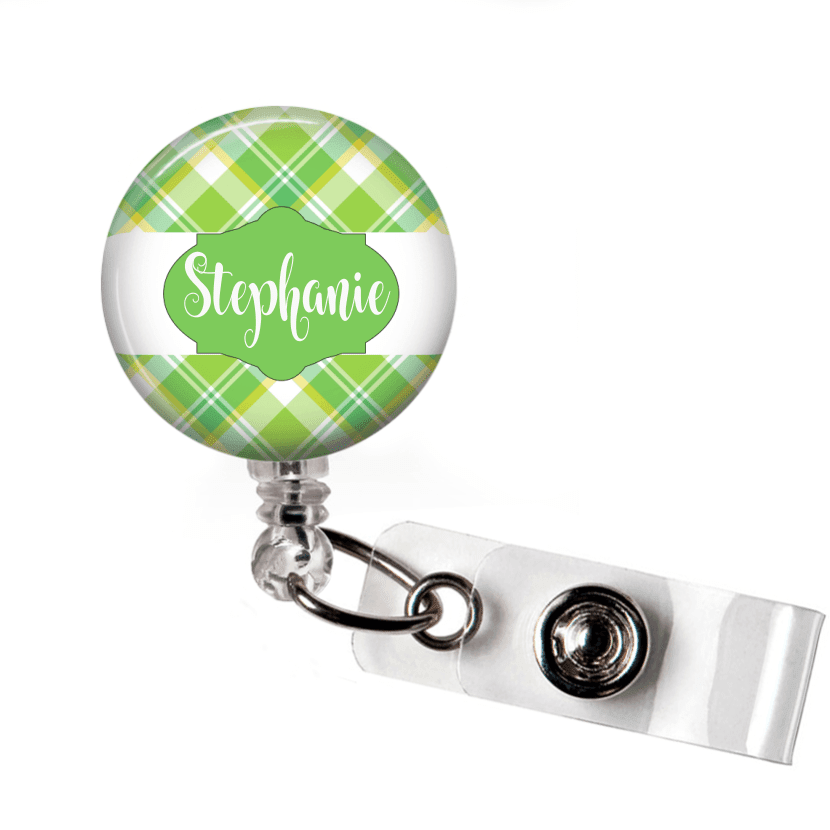 Retractable Badge Holder - Plaid PL003 - Clowdus Creations
