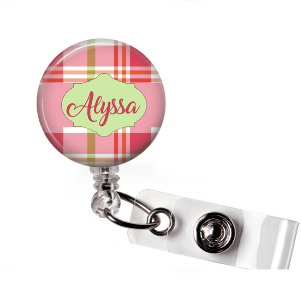 Retractable Badge Holder - Plaid PL004 - Clowdus Creations