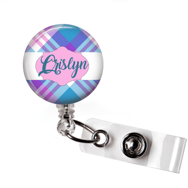 Retractable Badge Holder - Plaid PL005 - Clowdus Creations