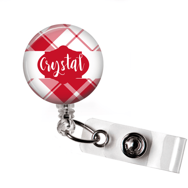 Retractable Badge Holder - Plaid PL007 - Clowdus Creations