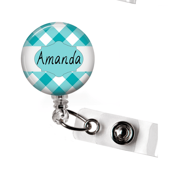Retractable Badge Holder - Plaid PL008 - Clowdus Creations