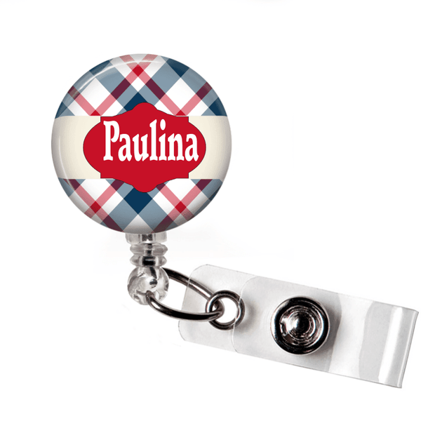 Retractable Badge Holder - Plaid PL009 - Clowdus Creations