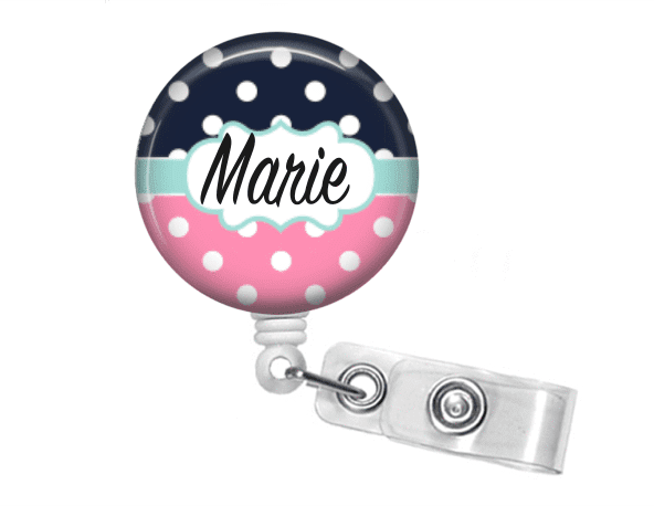 Badge holder - Pink and Navy Polka Dot - Clowdus Creations