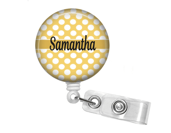 Badge holder - Yellow polka dot - Solid Line - Clowdus Creations