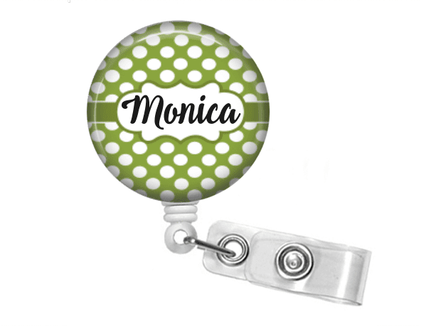 Badge holder - Green polka dot - Clowdus Creations