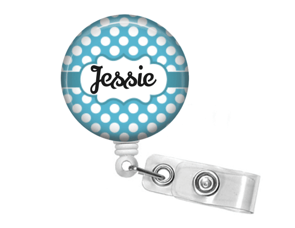 Badge Reel - Retractable Badge Holder - Blue polka dot - Clowdus Creations