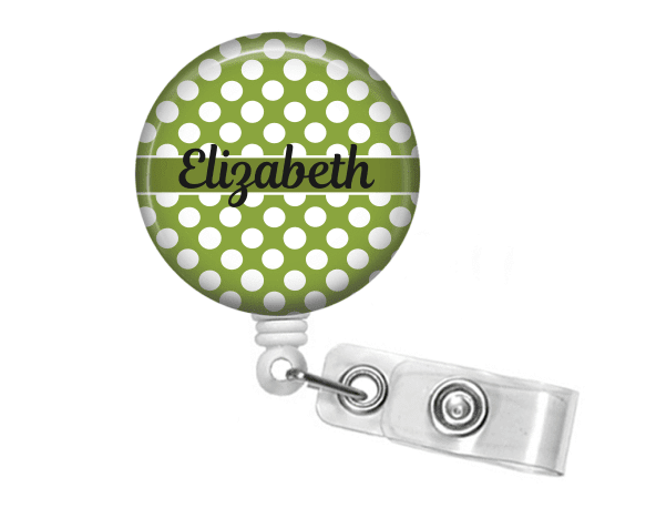 Badge holder - Green polka dot - Solid Line - Clowdus Creations