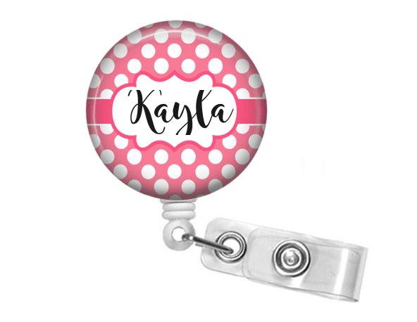 Badge holder - Pink polka dot - Clowdus Creations-An ID Badge Holder is the perfect personalized gift for any student or professional. Badge reel holders are great for the nurse, doctor, hospital staff or the student in your life.