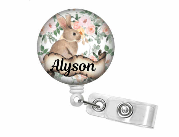 Retractable Badge Holder - Rabbit - Clowdus Creations
