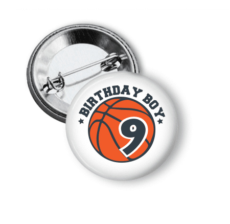 Birthday - Basketball pin back - Clowdus Creations