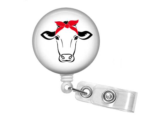 Badge Reel - Retractable Badge Holder - Cow and Bandanna - Clowdus Creations