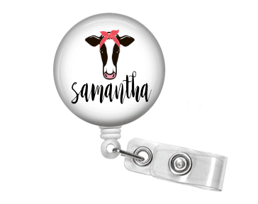 Badge Reel - Cow and Bandanna - Pink - Clowdus Creations