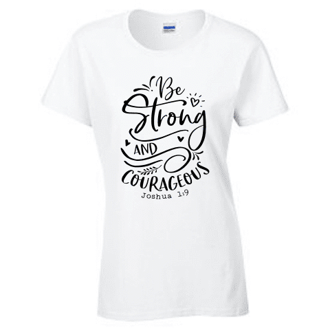 Ladies Short Sleeve T-shirt - JOSHUA 1 9 BE STRONG - Clowdus Creations