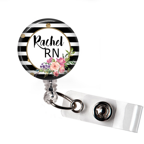 Black and White Floral - Badge Reel with Name and Credentials or Occupation/Title  Badge Reels Clowdus Creations