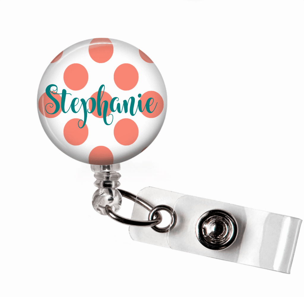 Retractable Badge Holder - Small polka dot - Clowdus Creations