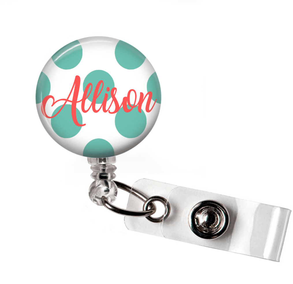 Badge Reel Holder - Medium Polka Dot - Clowdus Creations