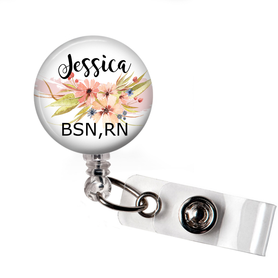 Peach Floral - Badge Reel with Name and Credentials or Occupation/Title  Badge Reels Clowdus Creations