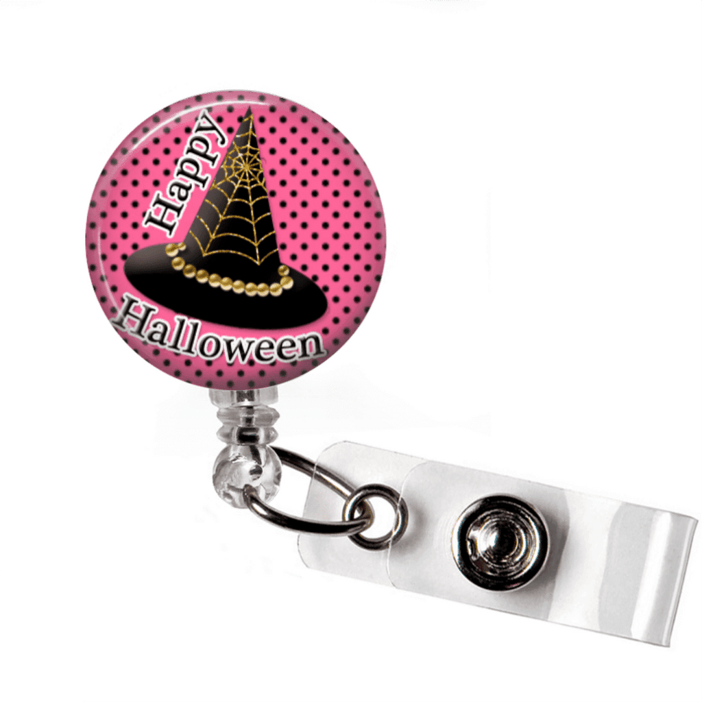 Badge Reel - Halloween Witch Hat - Pink and Black - Clowdus Creations