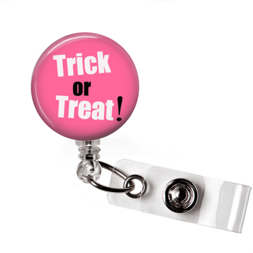 Badge Reel - Halloween Trick or Treat - Pink and Black - Clowdus Creations