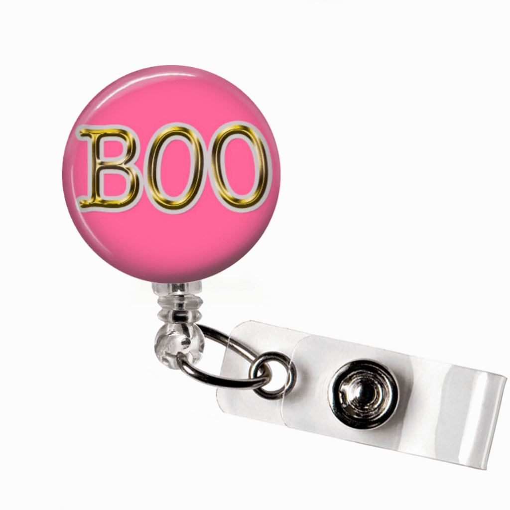 Badge Reel - Halloween Boo - Pink and Gold - Clowdus Creations