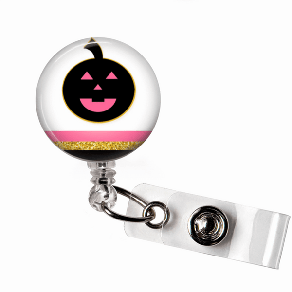 Badge Reel - Halloween Pumpkin - Pink and Black - Clowdus Creations