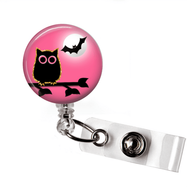 Badge Reel - Halloween Owl - Pink and Black - Clowdus Creations