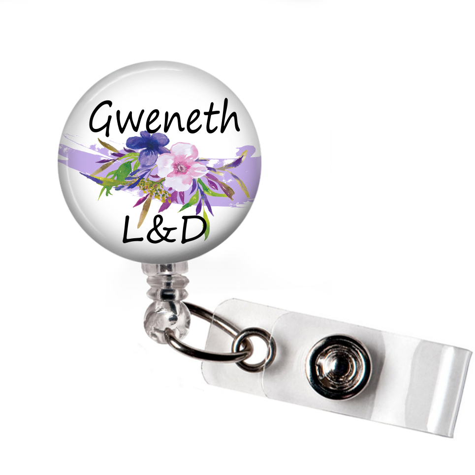 Colorful Floral - Badge Reel with Name and Credentials or Occupation/Title  Badge Reels Clowdus Creations