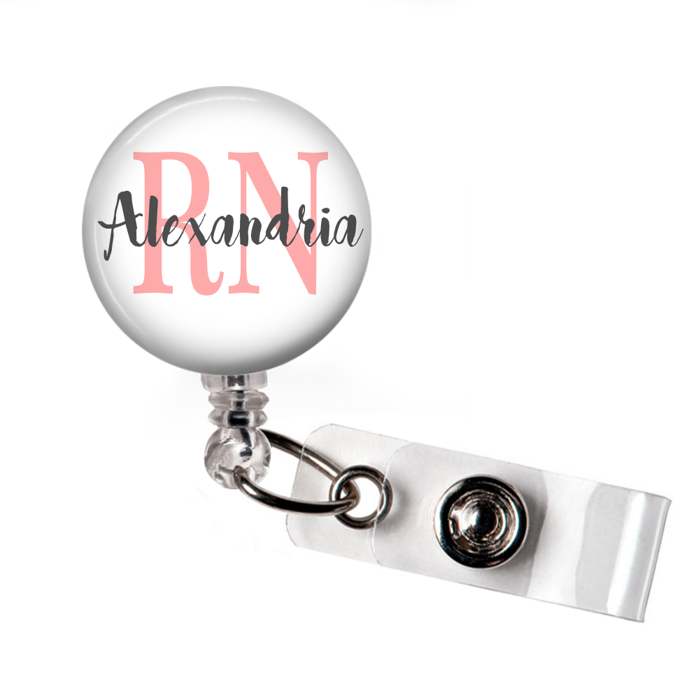 RN Floral - Badge Reel with Name and Credentials or Occupation/Title  Badge Reels Clowdus Creations
