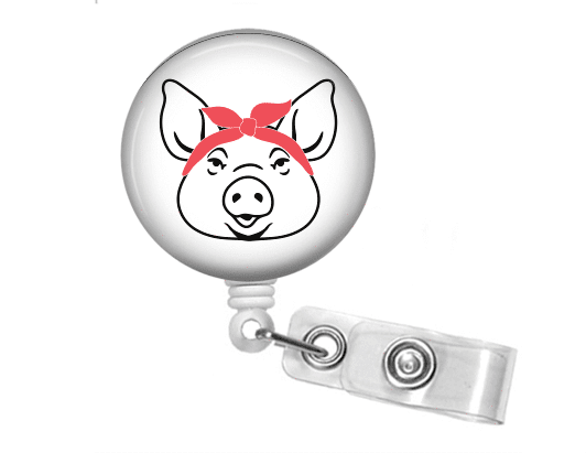 Badge Reel - Pig and Bandanna - Pink - Clowdus Creations