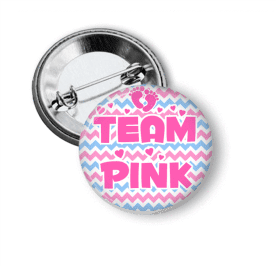 Gender Reveal - Team Pink - Chevron - Clowdus Creations