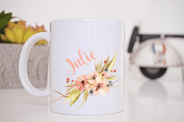 Personalized Floral Coffee Mug  Personalized Coffee Mug Clowdus Creations