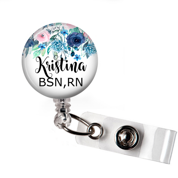 Blue Floral - Badge Reel with Name and Credentials or Occupation/Title  Badge Reels Clowdus Creations