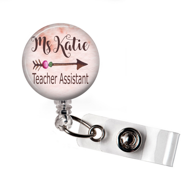 Arrow - Badge Reel with Name and Credentials or Occupation/Title  Badge Reels Clowdus Creations