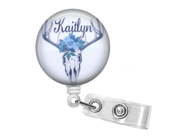 Retractable Badge Holder - Skull and Floral blue BR029 - Clowdus Creations